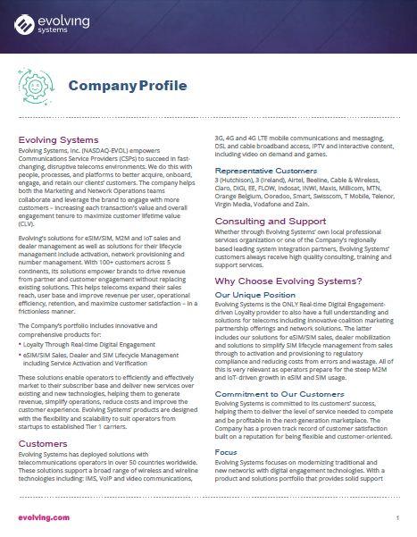 Evolving Factsheet